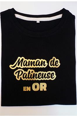 Tee Shirt - Maman de patineuse en Or